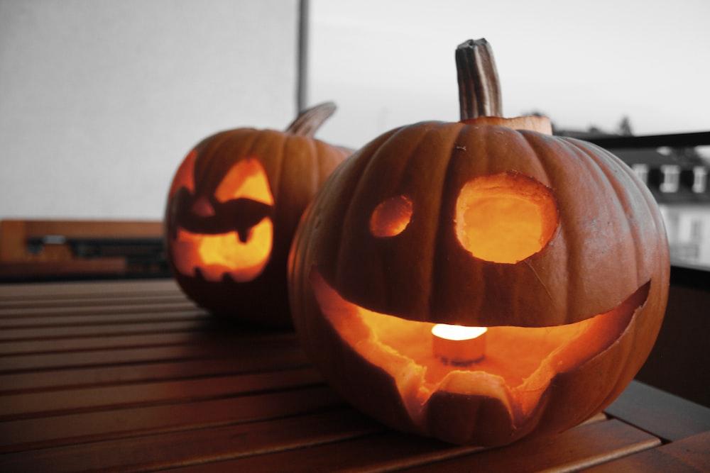 two Jack-O'lanterns