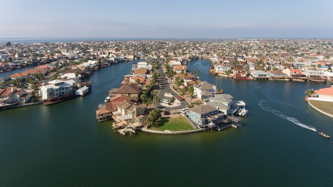 An arial photo of vacation home on Padre Island