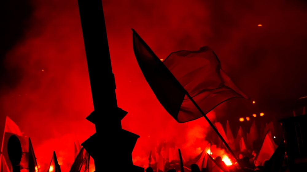 people raising flags near bonfire