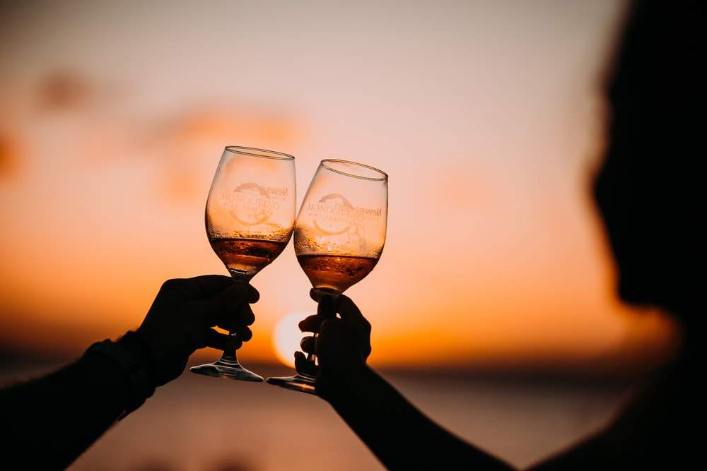 silhouette photography of two person holding long-stem wine glasses
