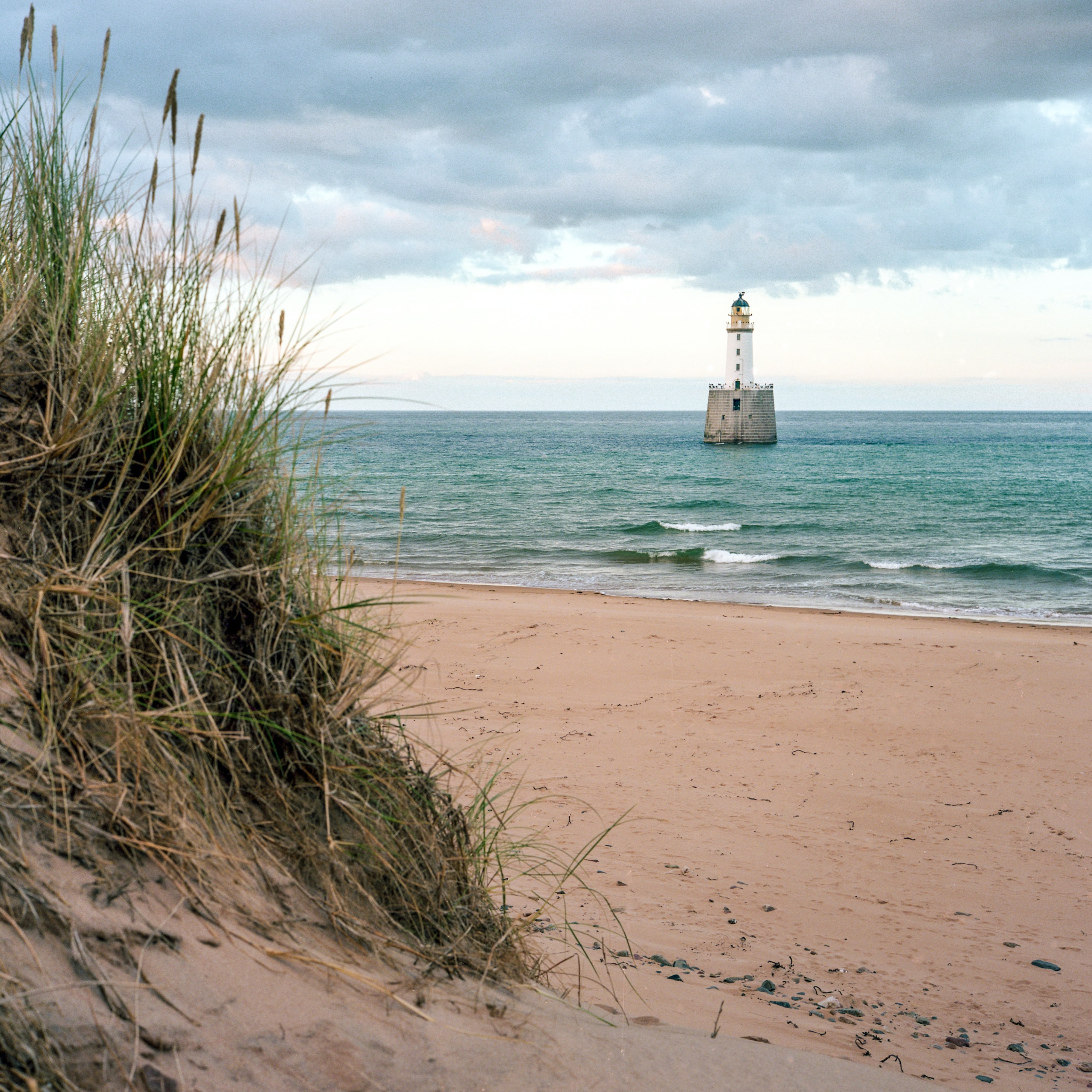brown and white lighthouse near seashore during daytime
