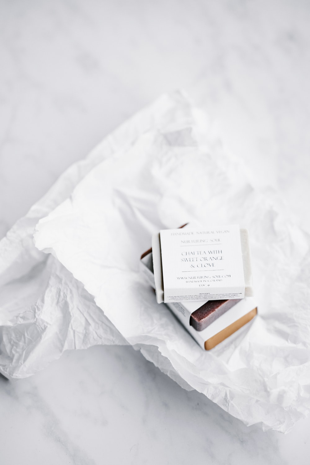 white labeled box on white printer paper