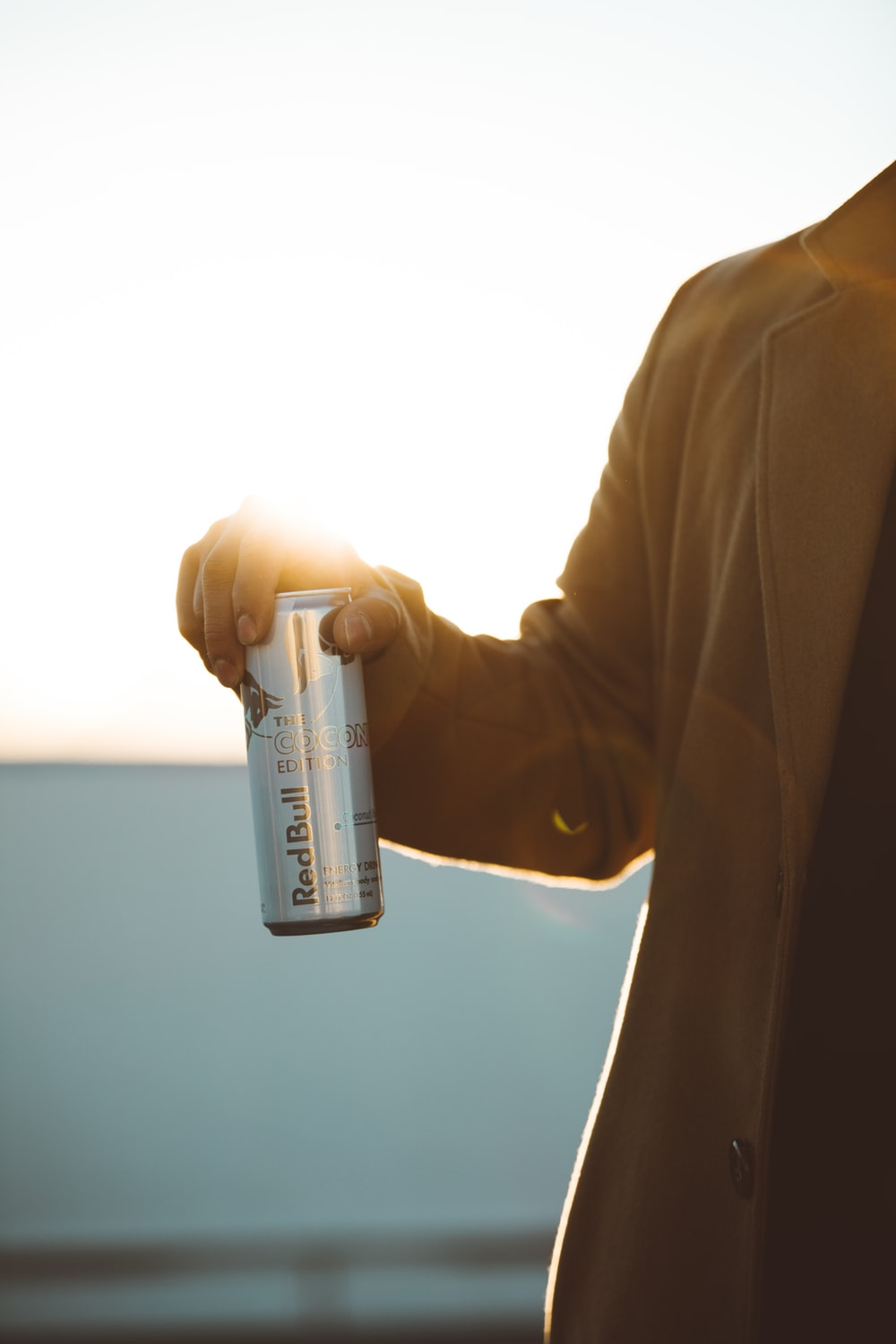 person holding RedBull labeled can during daytime