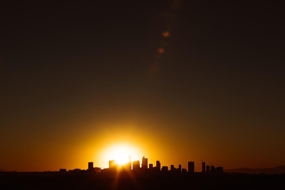 concrete building during golden hour