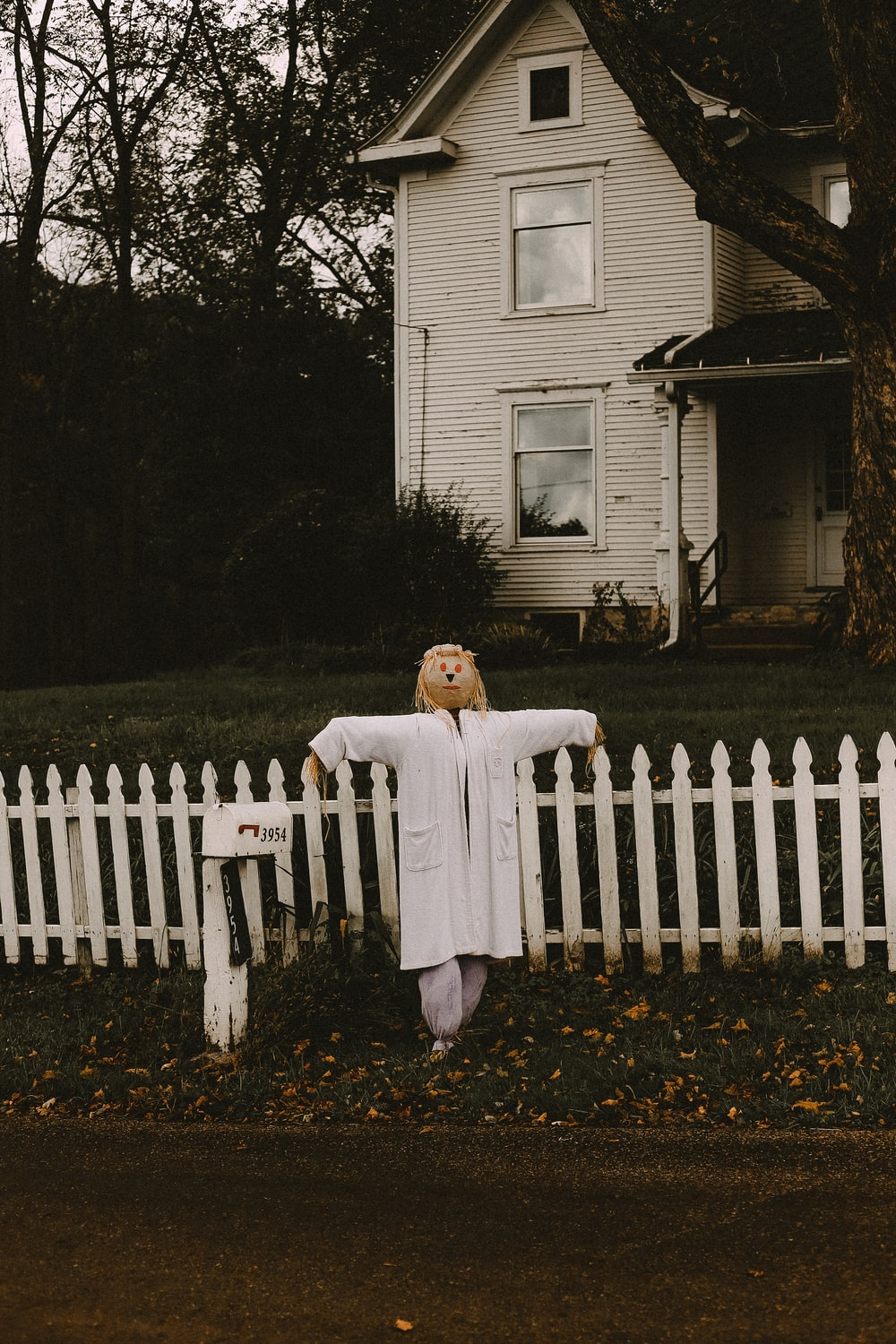 scarecrow in front of white wooden house
