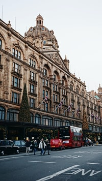 The world famous Harrods luxury department store located on Brompton Road in Knightsbridge, London, UK.