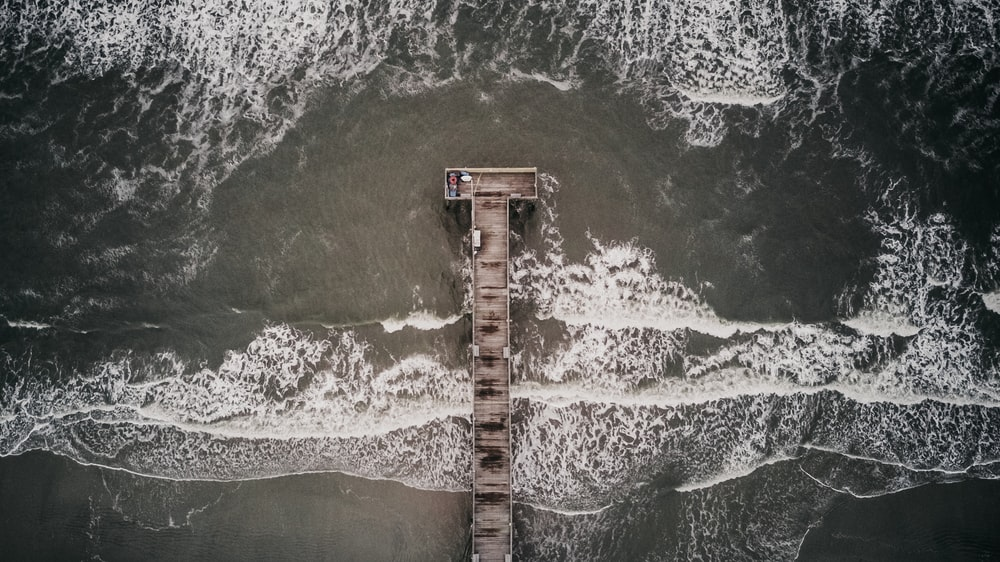 gray dock aerial photography
