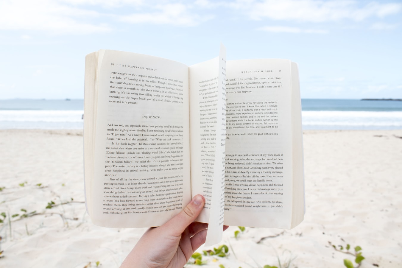Person holding book at the beach