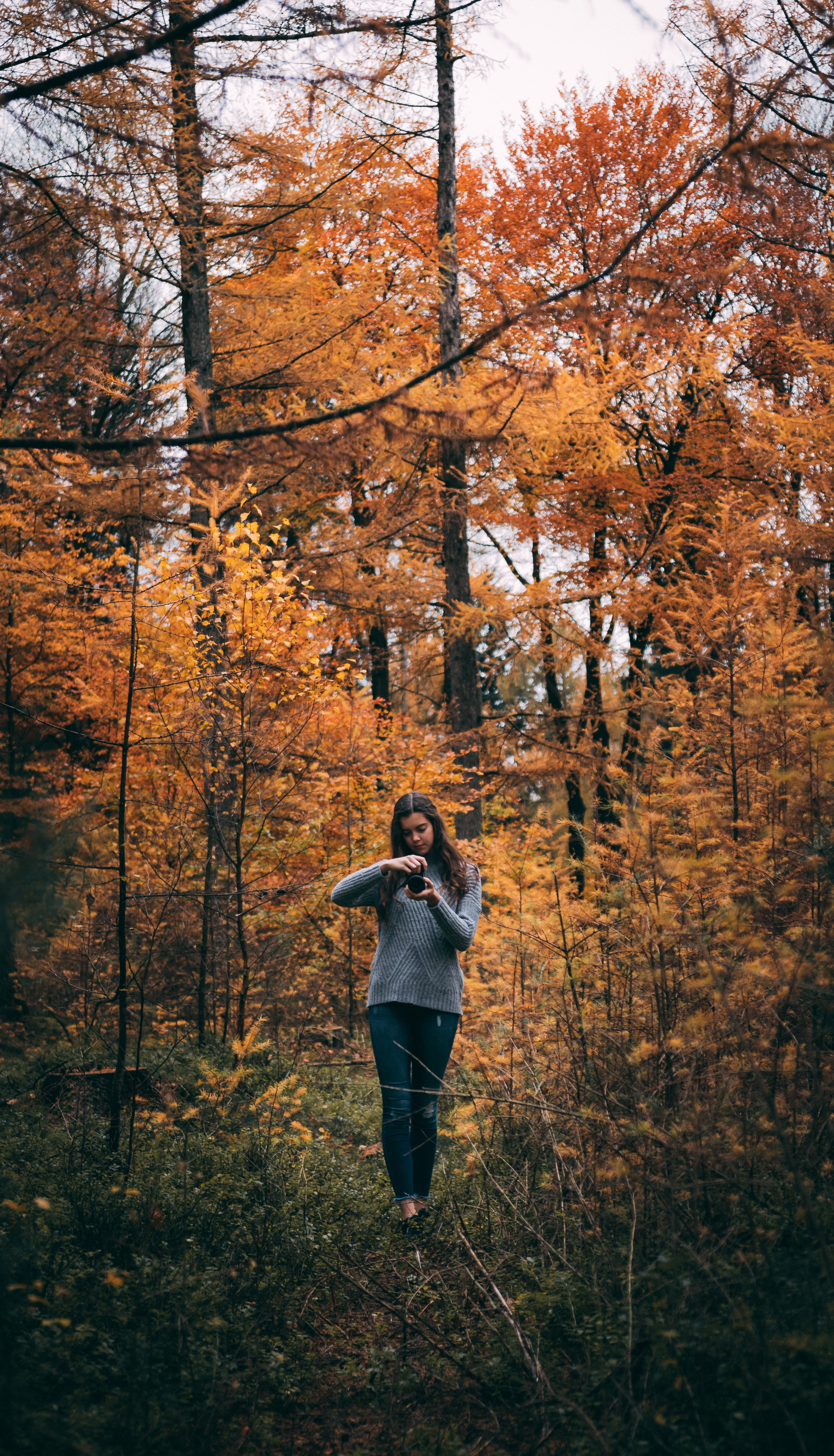 woman holding smartphone while standing in front of trees