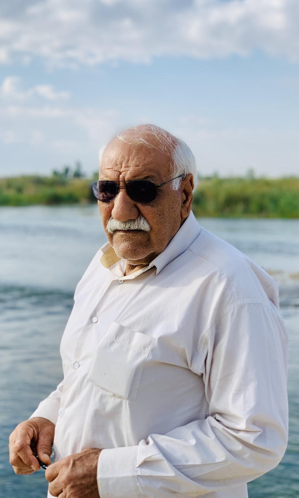 man wearing dress shirt and sunglasses