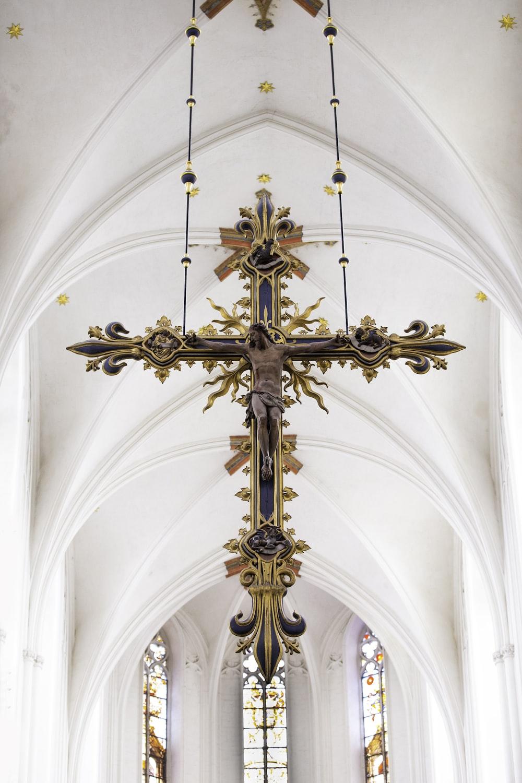 brown crucifix decor