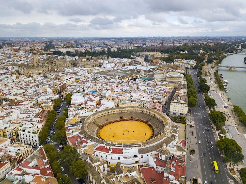 bird's-eye view photography of stadium