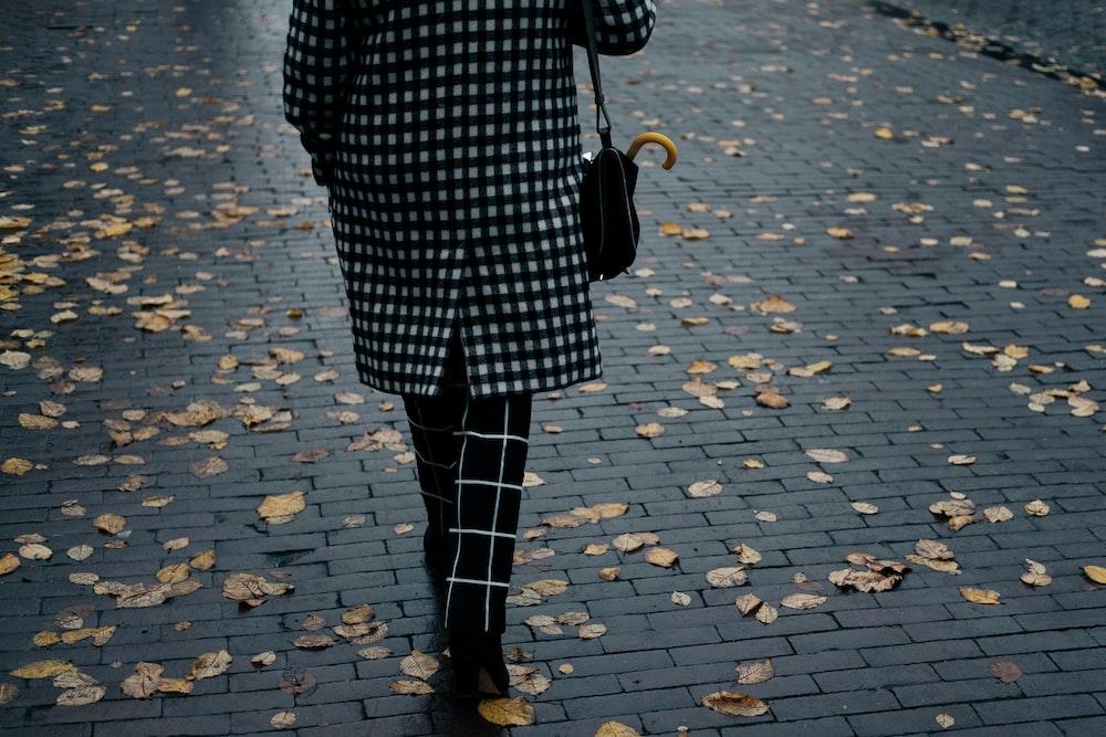 woman walking on street