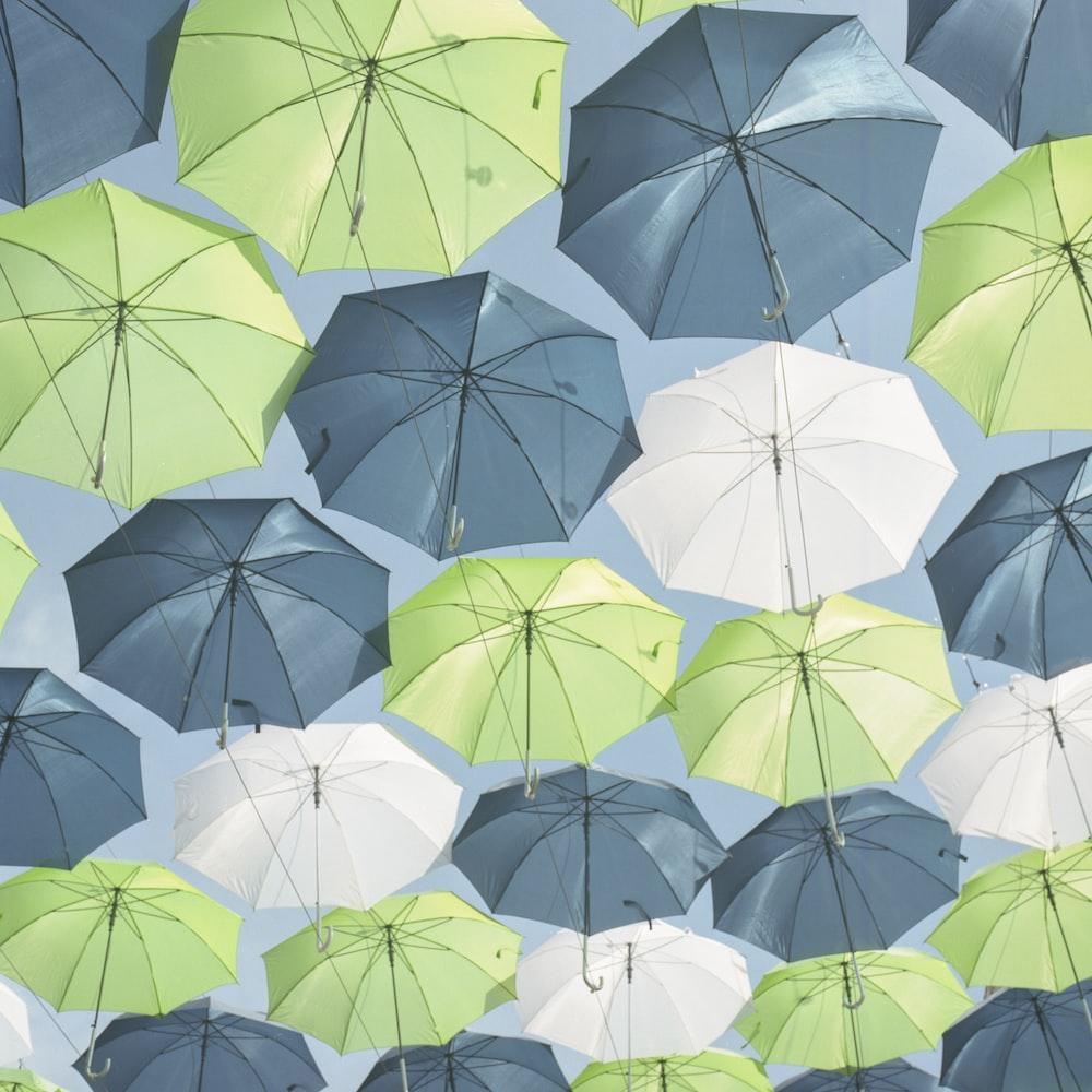 blue and green umbrella decor lot