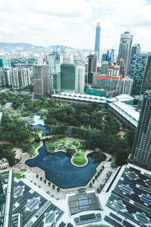 aerial photography of buildings near park