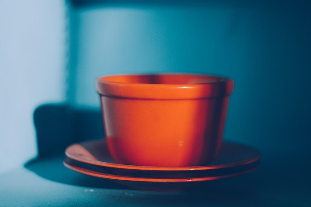 orange teacup