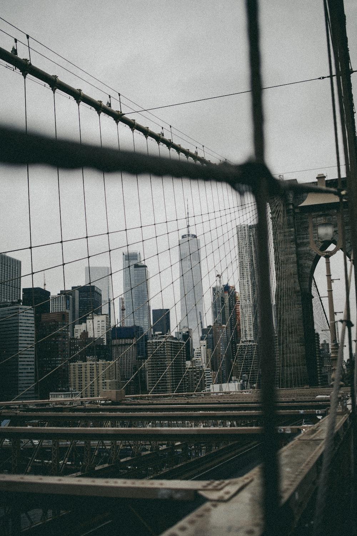 selective focus photography of suspension bridge