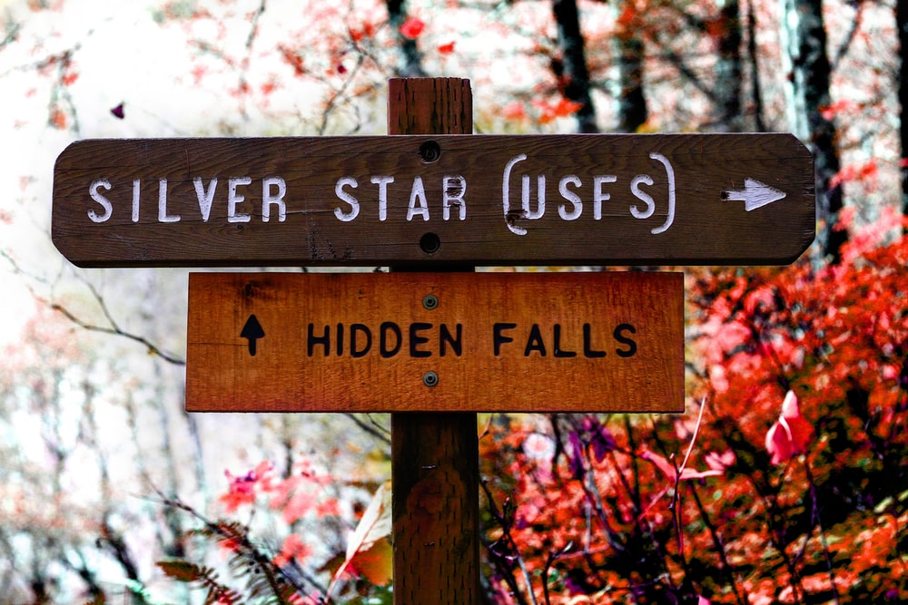 brown wooden Silver Star and Hidden Falls road sign