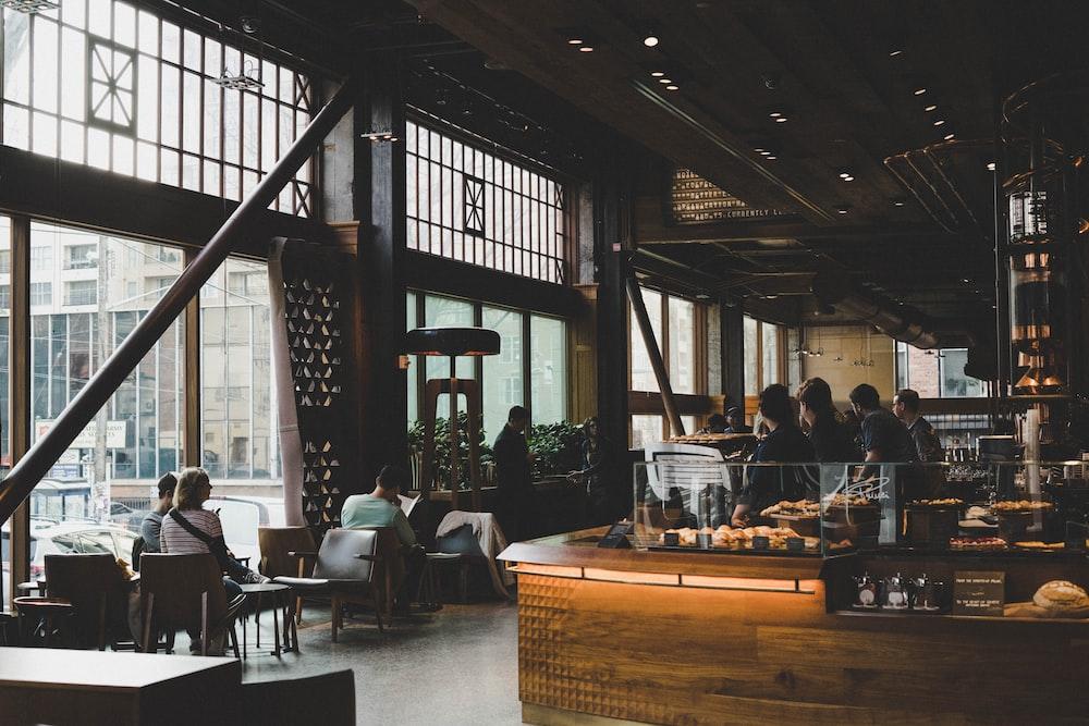 people sitting inside establishment