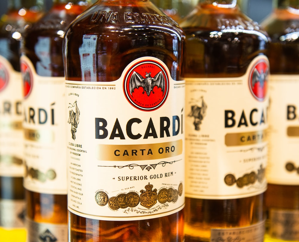Bacardi Carta Oro superior gold rum bottles