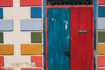 closed blue and red door