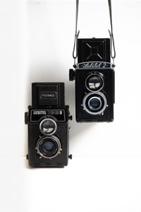 black single-lens reflex camera