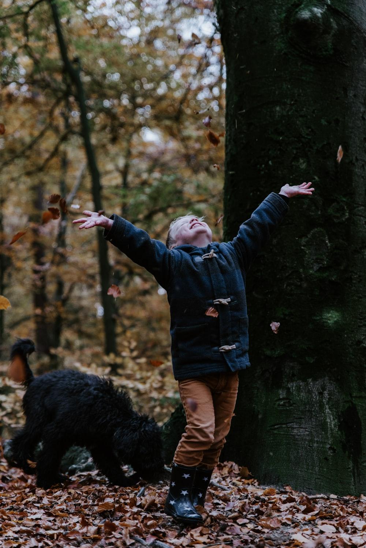 toddler wearing black jacket