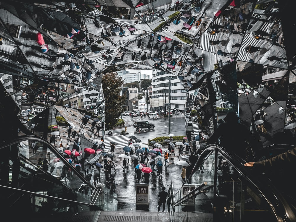 grayscale photography of escalator