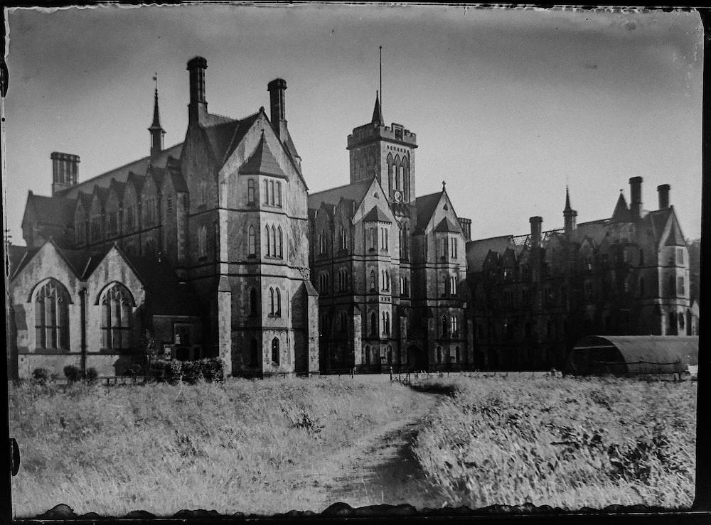 greyscale photo of castle