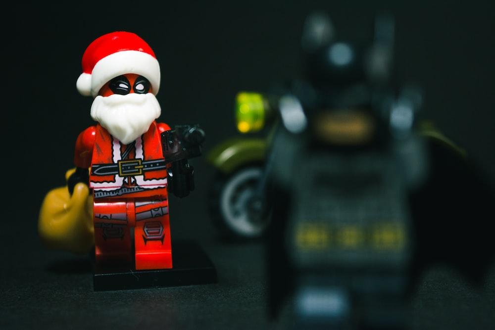 selective focus photography of Santa Claus minifig