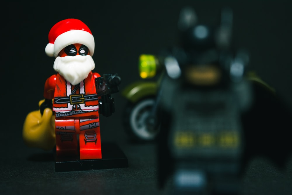 selective focus photography of Santa Claus minifig