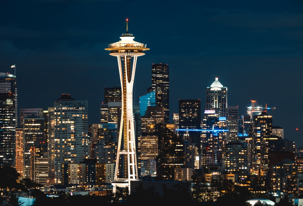 Space Needle tower at night