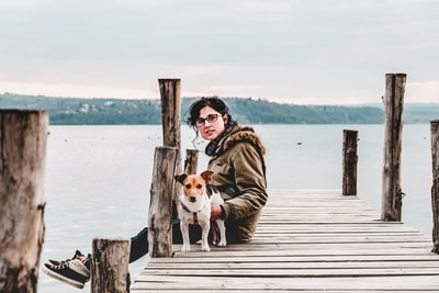woman sitting on brown wooden dock with dog best zoom background