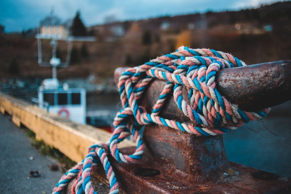 teal and pink rope