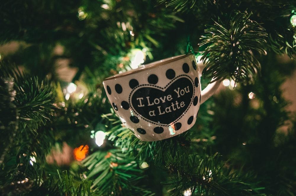 white and black I Love You a Latte polka-dot ceramic teacup on pine tree