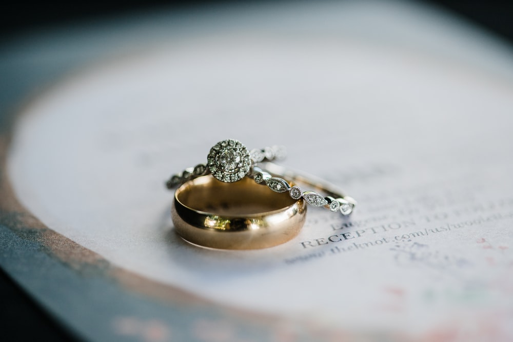 diamond ring and gold band