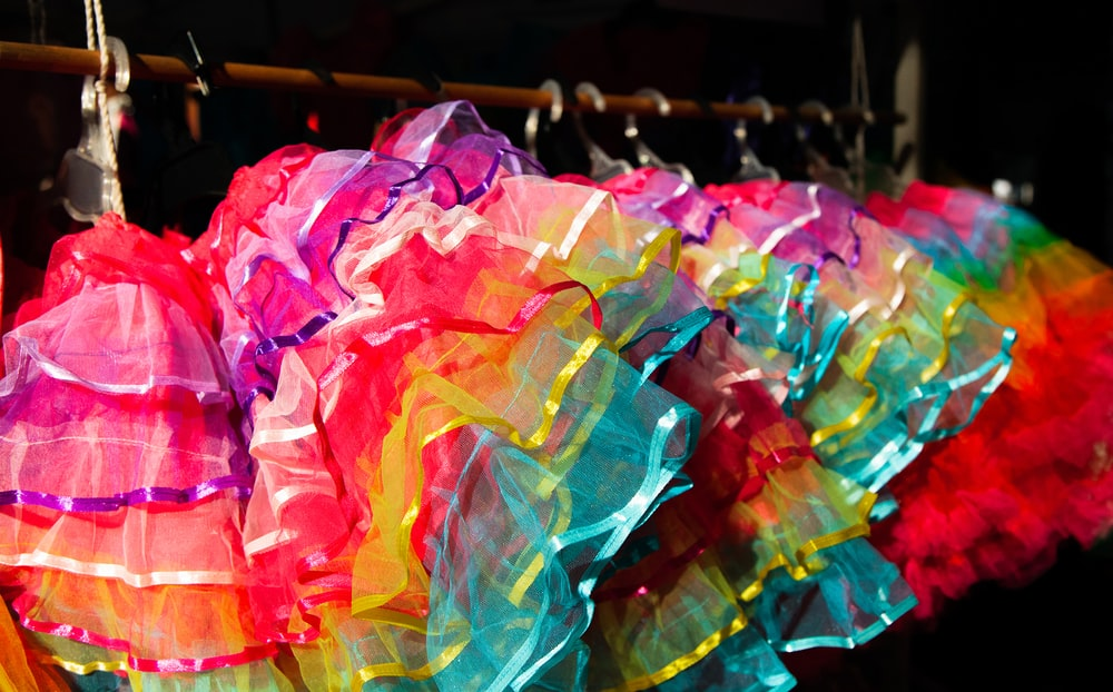 multicolored miniskirts