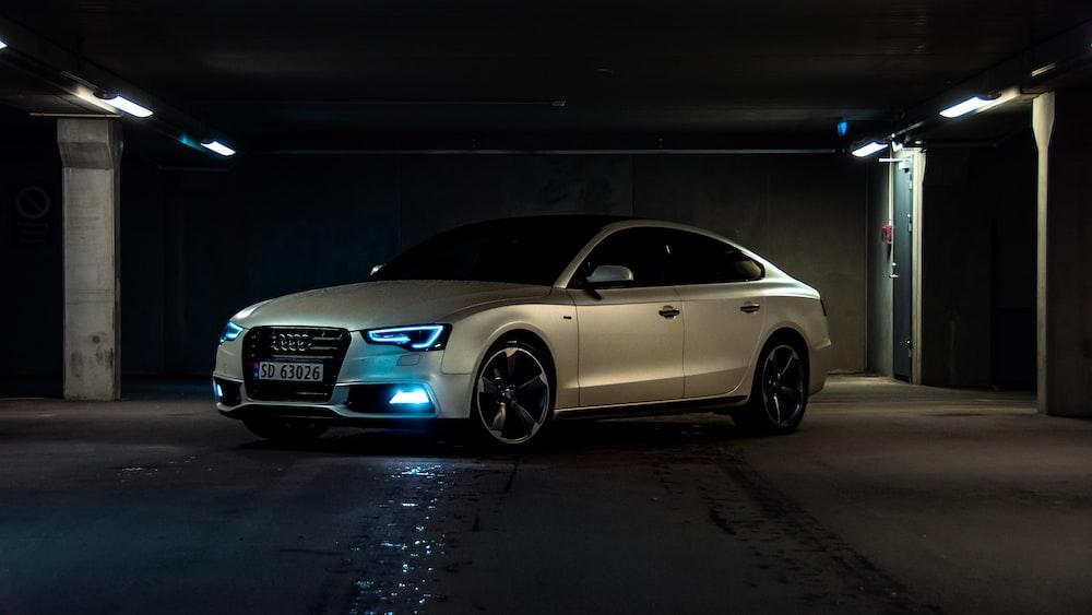 silver Audi sedan