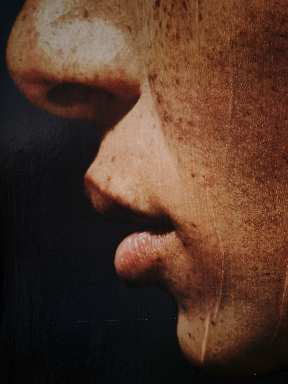 person's lips and nose