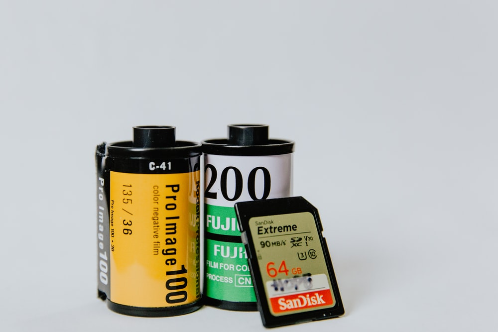 two camera films and 64 GB memory card