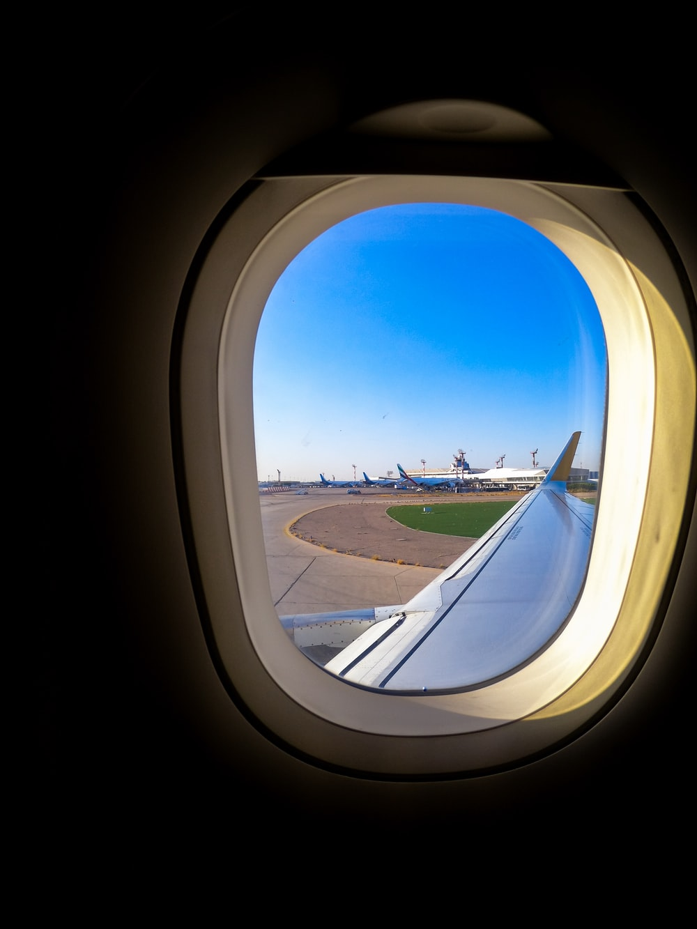 close-up of airliner window