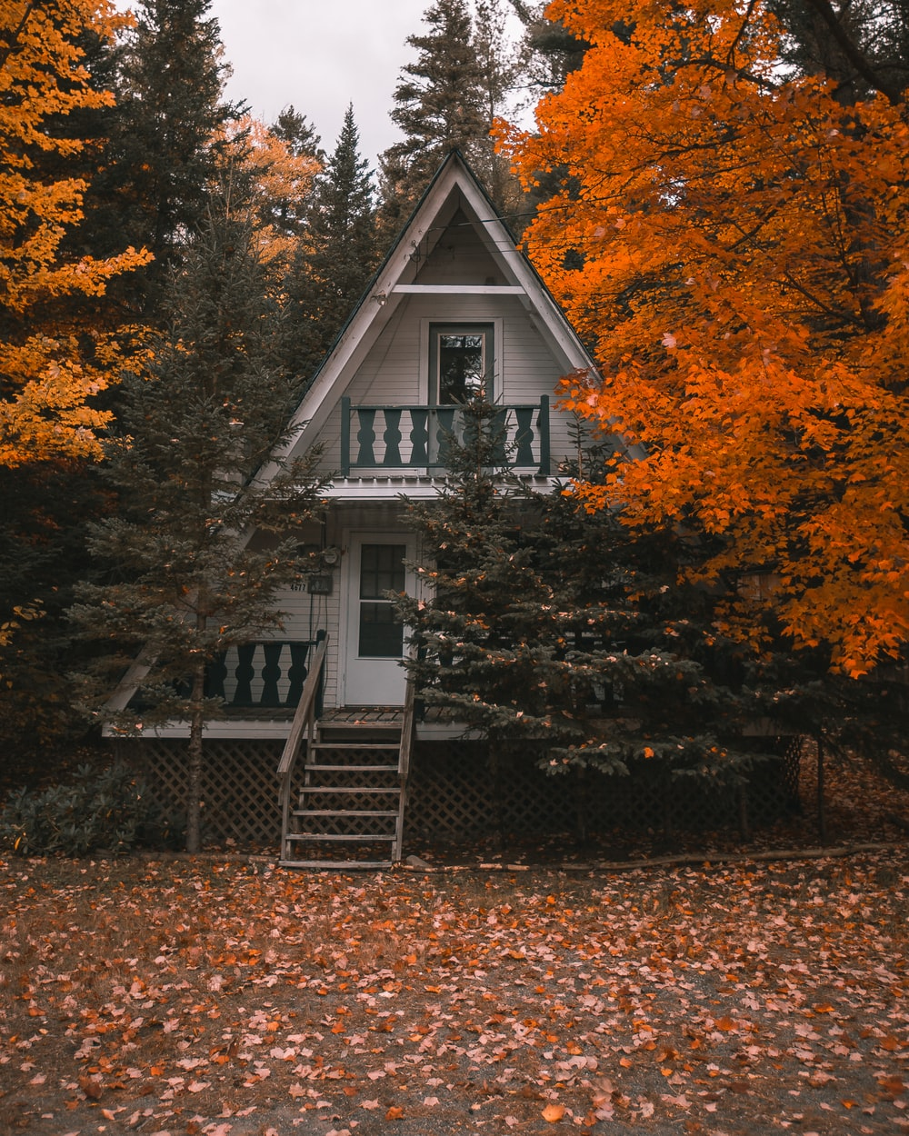 white and brown wooden house