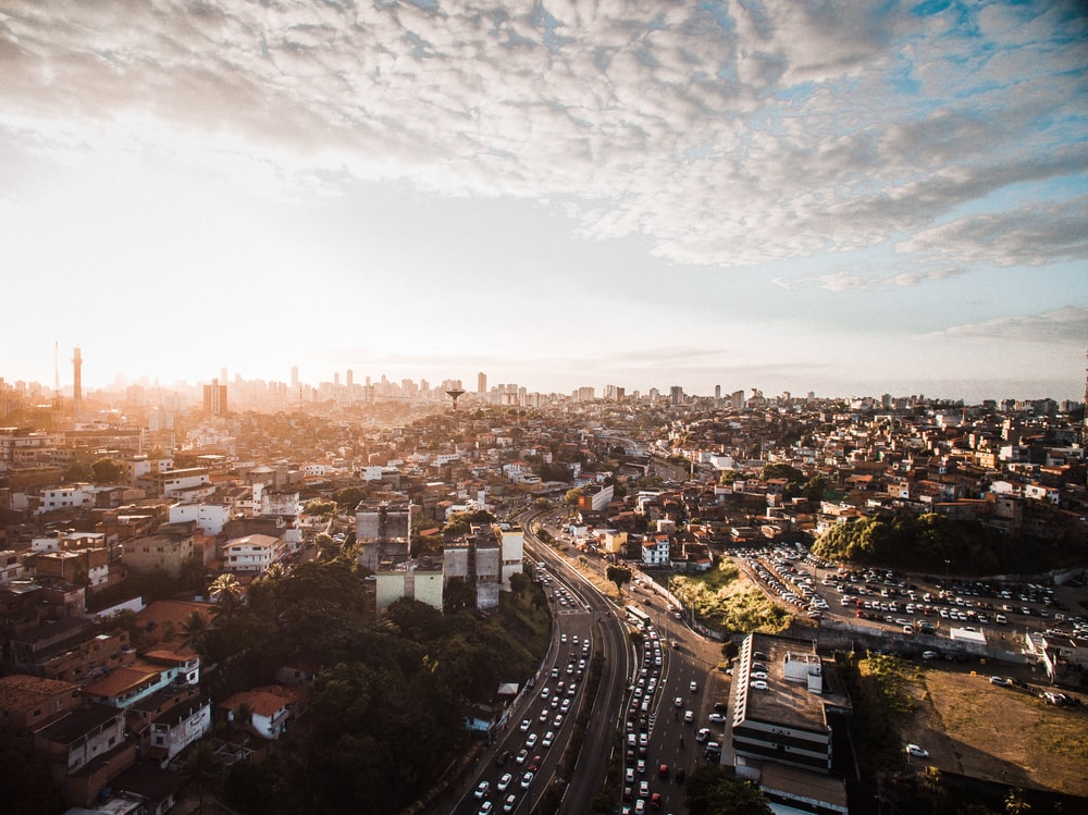 skyline aerial city view