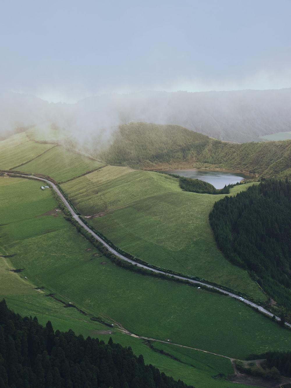 green grass field near lake