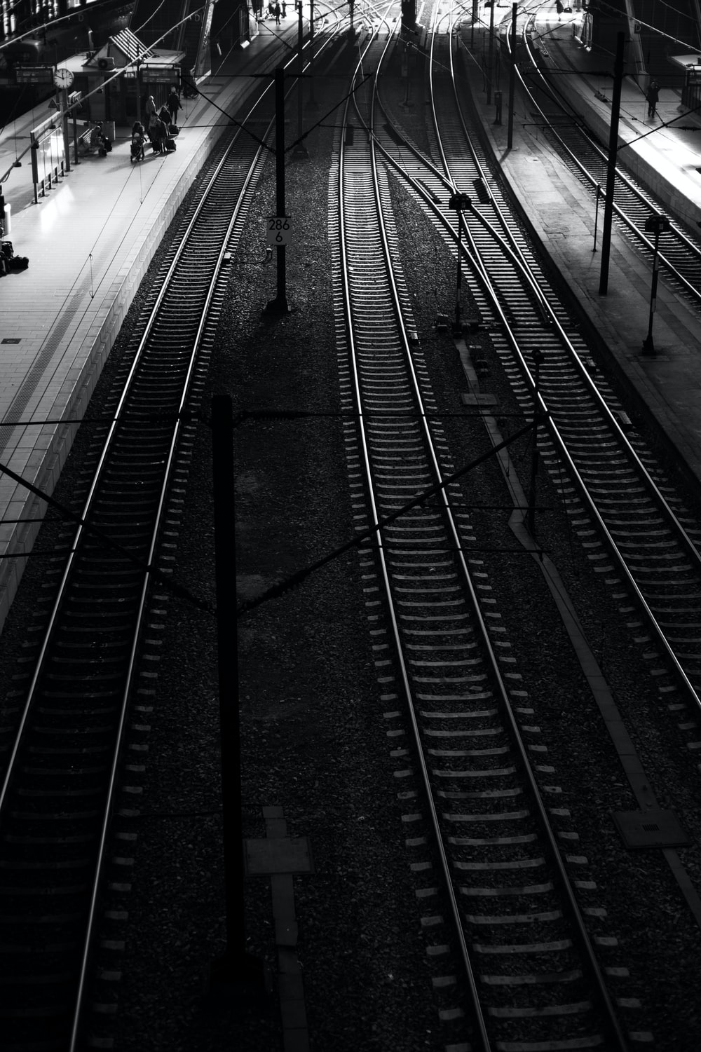 grayscale photo of railway