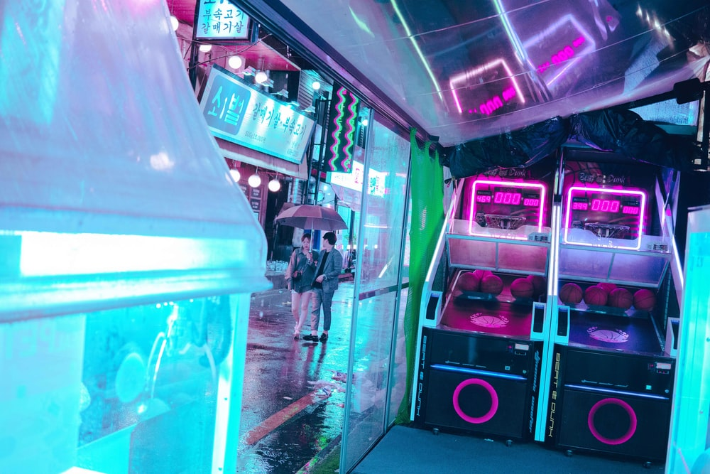 two basketball arcade machines