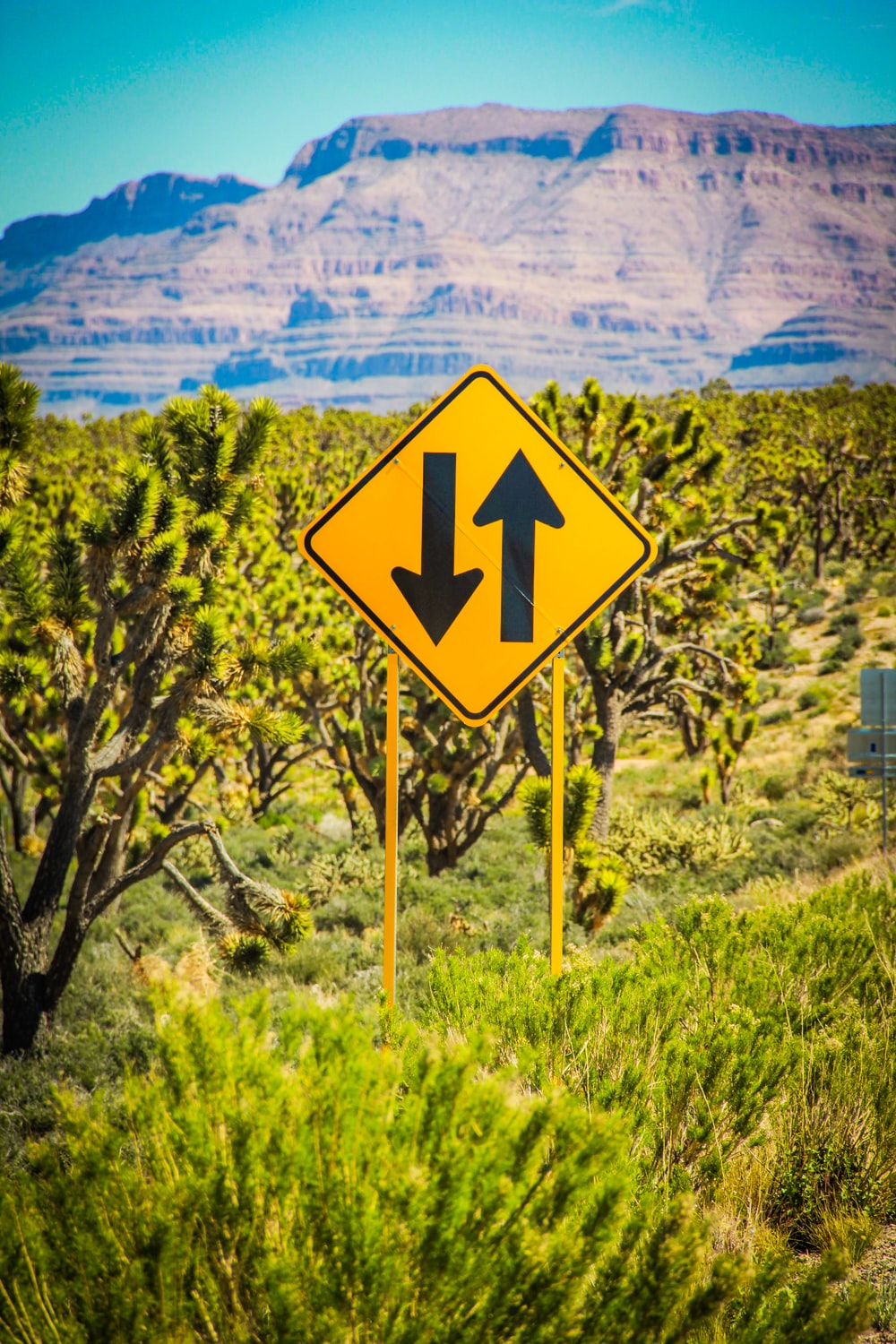 yellow and black arrow up and down signage