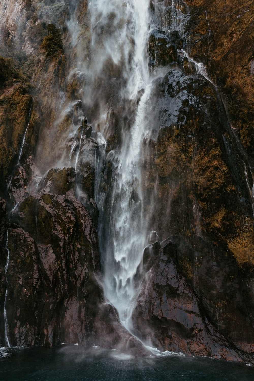 photography of raging waterfalls