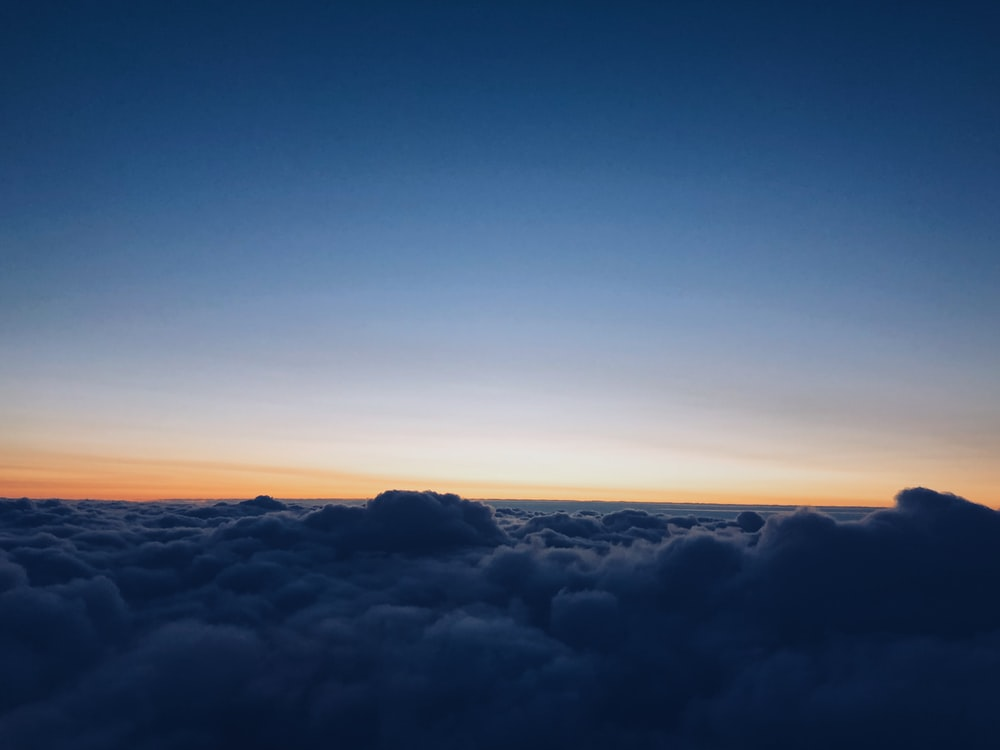 aerial photography of sea clouds