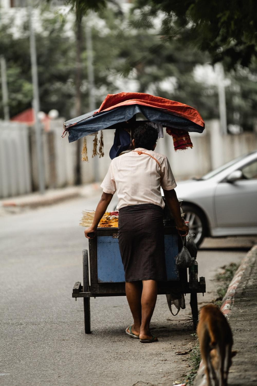 man pushing a food cart near walking dog